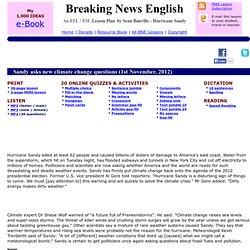 Breaking News English ESL Lesson Plan on Hurricane Sandy