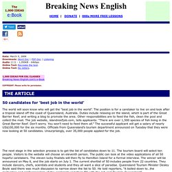Breaking News English ESL Lesson Plan on Dream Jobs