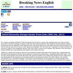 Breaking News English ESL Lesson Plan on Gender Dress