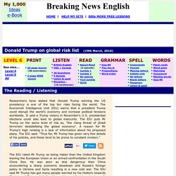 Breaking News English ESL Lesson Plan on Global Risks