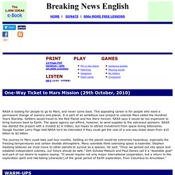 Breaking News English ESL Lesson Plan on Ticket to Mars