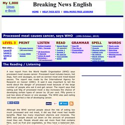Breaking News English ESL Lesson Plan on Processed Meat