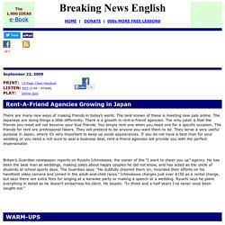 Breaking News English ESL Lesson Plan on Renting Friends