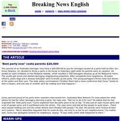 Breaking News English ESL Lesson on Teenage Parties