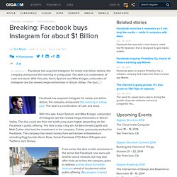 Breaking: Facebook buys Instagram for about $1 Billion