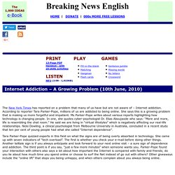 Breaking News English ESL Lesson Plan on Internet Addiction