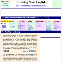 Breaking News English ESL Lesson Plan on Star Wars