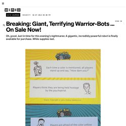 Breaking: Giant, Terrifying Warrior-Bots ... On Sale Now! | Danger Room