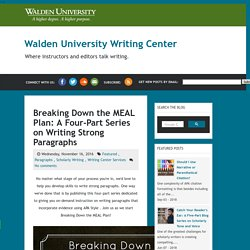 Breaking Down the MEAL Plan: A Four-Part Series on Writing Strong Paragraphs