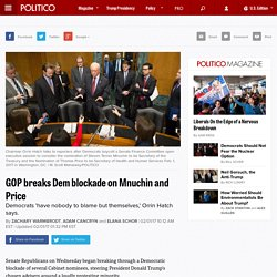 GOP breaks Dem blockade on Mnuchin and Price