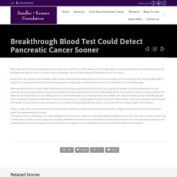 Blood Test May Detect Early-stage Pancreatic Cancer