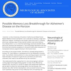 Possible Memory Loss Breakthrough for Alzheimer's Disease on the Horizon