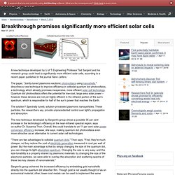 Breakthrough promises significantly more efficient solar cells