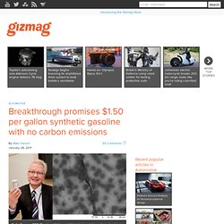 Breakthrough promises $1.50 per gallon synthetic gasoline with no carbon emissions