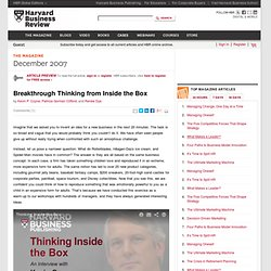 Breakthrough Thinking from Inside the Box