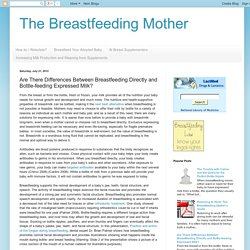 The Breastfeeding Mother: Are There Differences Between Breastfeeding Directl...