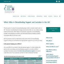 Who's Who in Breastfeeding Support and Lactation in the UK - LCGB