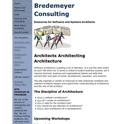 Enterprise Architecture, Software Architecture, Architects, and Architecting