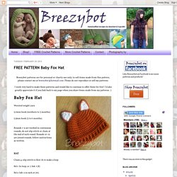 FREE PATTERN Baby Fox Hat