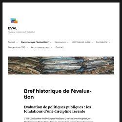 Bref historique de l'évaluation – EVAL