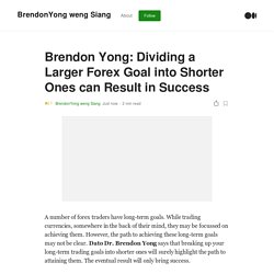 Brendon Yong: Dividing a Larger Forex Goal into Shorter Ones can Result in Success