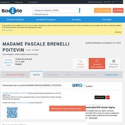 MADAME PASCALE BRENELLI POITEVIN (LOIX) Chiffre d'affaires, résultat, bilans sur SOCIETE.COM - 523778850