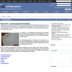 Brevet 2017 : Tous les sujets de Pondichéry