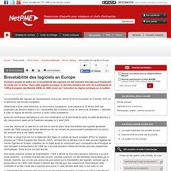 Brevetabilité des logiciels en Europe - propriete intellectuelle