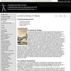 breviaire-witch-project - La mort à Venise (T. Mann)