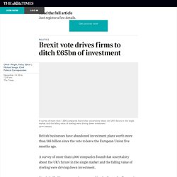 Brexit vote drives firms to ditch £65bn of investment