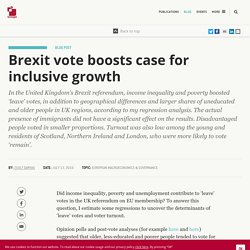 Brexit vote boosts case for inclusive growth