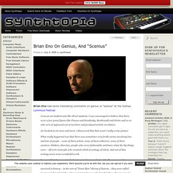 "Brian Eno On Genius, And ""Scenius"""