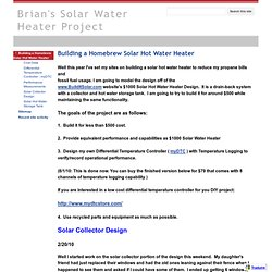 Brian's Solar Water Heater Project