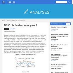 BRIC : la fin d'un acronyme
