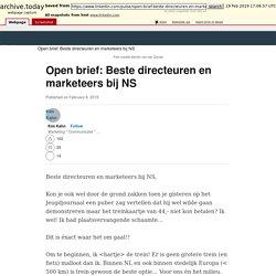 Open brief: Beste directeuren en marketeers bij NS