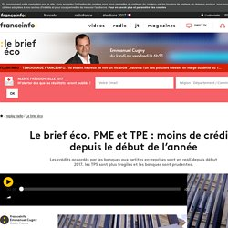 Le brief éco. PME et TPE : moins de crédits depuis le début de l'année