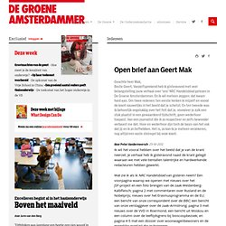 Open brief aan Geert Mak