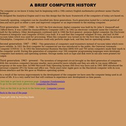 Brief History Of Computer