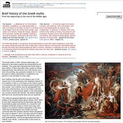 Brief History of the Greek Myths