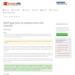 Brief type création web