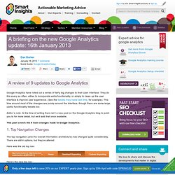 A briefing on the new Google Analytics update: 16th January 2013