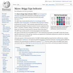 Myers–Briggs Type Indicator - Wikipedia