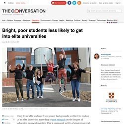Bright, poor students less likely to get into elite universities