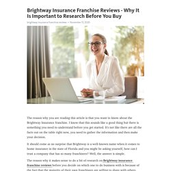 Brightway Insurance Franchise Reviews - Why It Is Important to Research Before You Buy