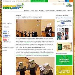 Briks reciclados revoloteando en un museo