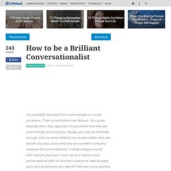 How to be a Brilliant Conversationalist
