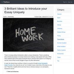 3 Brilliant Ideas to Introduce your Essay Uniquely