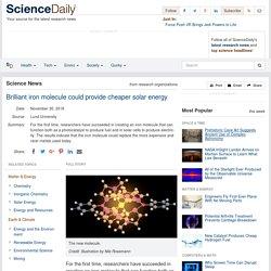 Brilliant iron molecule could provide cheaper solar energy