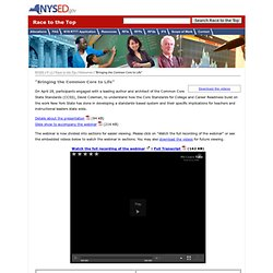 """""""Bringing the Common Core to Life"""" : Resources : Race to the Top : NYSED"""