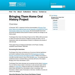 Bringing Them Home - Oral History Project